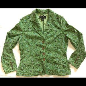 Womens Eddie Bauer Green Floral Corduroy Jacket